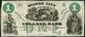 Philadelphia, PA- Quaker City College Bank $1 ND Schingoethe PA-610-1 Remainder Very Fine
