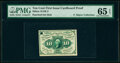Fractional Currency:First Issue, Milton 1E10F.2 10¢ First Issue Cardboard Proof PMG Gem Uncirculated 65 EPQ, POC.. ...