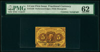 Fr. 1228 5¢ First Issue Courtesy Autograph PMG Uncirculated 62