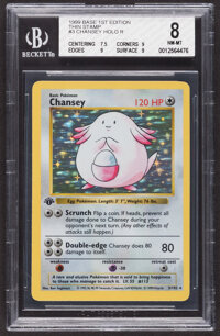 Pokémon Chansey #3 First Edition Base Set Rare Hologram Trading Card (Wizards of the Coast, 1999) BGS NM-MT 8