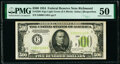 Fr. 2201-E $500 1934 Light Green Seal Federal Reserve Note. PMG About Uncirculated 50