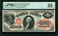 Large Size:Legal Tender Notes, Fr. 19 $1 1874 Legal Tender PMG About Uncirculated 55.. ...