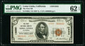 National Bank Notes:California, Loma Linda, CA - $5 1929 Ty. 2 The First National Bank Ch. # 13332 PMG Uncirculated 62 EPQ.. ...