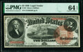 Large Size:Legal Tender Notes, Fr. 51 $2 1880 Legal Tender PMG Choice Uncirculated 64 EPQ.. ...