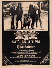 Guns N' Roses 1986 Pre-Fame Flyer from Doug Weston's Troubadour, West Hollywood