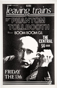 Leaving Trains/Phantom Tollbooth Late 1980s Central Seattle Concert Poster