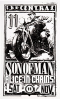 Music Memorabilia:Posters, Alice In Chains/Son of Man 1989 Central Seattle Concert Poster....