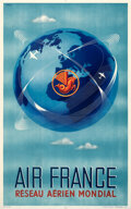 """Movie Posters:Miscellaneous, Air France (1948). Very Fine+ on Linen. French Travel Poster (24.25"""" X 38.75"""") Plaquet Artwork.. ..."""