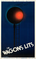 """Movie Posters:Miscellaneous, Travel at Night (Compagnie des Wagons-Lits, 1930). Fine- on Linen. Italian Travel Poster (24"""" X 39.25"""") A. M. Cassandre Artw..."""