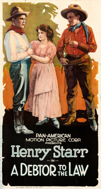 """A Debtor to the Law (Pan American, 1919). Folded, Very Fine-. Three Sheet (41"""" X 77"""")"""