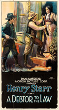 """Movie Posters:Western, A Debtor to the Law (Pan American, 1919). Folded, Very Fine-. Three Sheet (41""""X 77"""").. ..."""