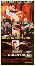 "Movie Posters:James Bond, Goldfinger (United Artists, 1964). Fine on Linen. Three Sheet (41.5"" X 78.5"").. ..."