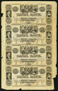 Obsoletes By State:Louisiana, New Orleans, LA- New Orleans Canal & Banking Company $20-$20-$20-$20 18__ Uncut Sheet Very Fine.. ...