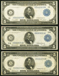 Large Size:Federal Reserve Notes, Fr. 847a $5 1914 Federal Reserve Note Fine-Very Fine;. Fr. 848 $5 1914 Federal Reserve Note Very Fine;. Fr. 870 $5 191... (Total: 3 notes)