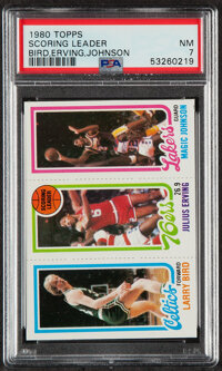 1980 Topps Scoring Leader - Bird, Erving, Johnson PSA NM 7