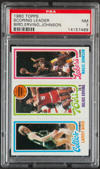1980 Topps Scoring Leader (Bird, Erving, Johnson) PSA NM 7