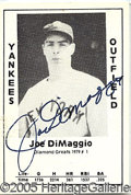"""Miscellaneous, """"DIAMOND GREATS"""" DIMAGGIO AUTOGRAPH. With the enormous growth of..."""