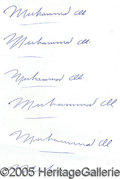 Miscellaneous, MUHAMMAD ALI MULTIPLE SIGNED SHEET. As an indication of his r...
