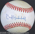 """Miscellaneous, CARL HUBBELL SINGLE SIGNED BALL. """"King Carl"""" was the author o..."""