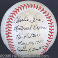 Miscellaneous, CHARLIE LEA GAME USED NO-HITTER BALL. In just his second majo...