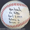 Miscellaneous, KEN FORSCH GAME USED NO-HITTER BALL. Houston's second game of th...