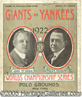 Miscellaneous, 1922 WORLD SERIES PROGRAM - GAME 1. As most casual historians ar...