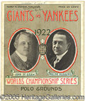 Miscellaneous, 1922 WORLD SERIES PROGRAM - GAME 5. Elsewhere in this catalog...