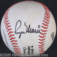 ROGER MARIS SINGLE-SIGNED BASEBALL. P A very cleanly signed Roger Maris on a ONL Feeney ball. Signed boldly in black ink...