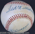 Miscellaneous, TED WILLIAMS, JOE DIMAGGIO SIGNED BASEBALL. Two of the greate...