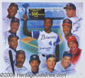 Miscellaneous, AUTOGRAPHED 500 HOME RUN LITHO WITH AARON IN CENTER. This is ...