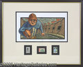 Miscellaneous, 4TH AND INCHES ART PRINT W/FOOTBALL STAMPS. Signed and number...