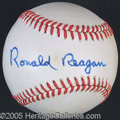 Miscellaneous, RONALD REAGAN SIGNED BASEBALL. The Great Communicator boldly ...
