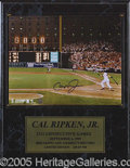 Miscellaneous, AUTOGRAPHED CAL RIPKEN PHOTO ON 2131 PLAQUE. A very nice Cal ...