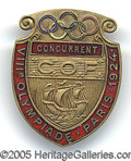 Miscellaneous, 1924 OLYMPICS PIN. The purpose of this handsome pin from the 192...