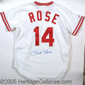Miscellaneous, PETE ROSE-SIGNED JERSEY. Autographed boldly on the back by ba...