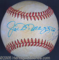 Miscellaneous, DIMAGGIOS SIGNED BASEBALL. Joe's signature appears at the sweet ...