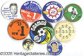 "Miscellaneous, GROUP LOT OF ""BETTER"" SPORTS PINS. Nine pieces, 1 3/4"" to 4"". Th..."