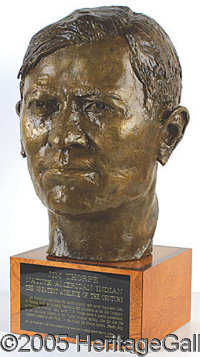 """INCREDIBLE, HUGE ONE-OF-A-KIND JIM THORPE SCULPTURE. P This magnificent 24"""" piece (weighing 72 pounds!) was sculptu..."""