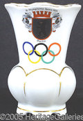 """Miscellaneous, LOVELY CHINA 1936 BERLIN OLYMPICS VASE. Colorful 5 1/4"""" vase ..."""