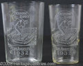 Miscellaneous, PAIR OF ETCHED 1932 LOS ANGELES OLYMPICS GLASSES. Fine-qualit...