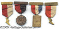 Miscellaneous, FOUR NICE VINTAGE SPORTS BADGES FOR FAMED ATHLETIC PIONEER. (2) ...