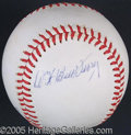 Miscellaneous, BILL TERRY SIGNED BALL. Modestly opting to sign a side panel, Bi...