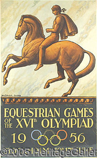 "1956 STOCKHOLM OLYMPIC POSTER. P The gorgeous 24 1/2 x 39 1/4"" poster from the XVI Olympiad has fantastic eye appea..."