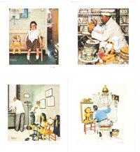 Jim Davis - Norman Rockwell & Garfield Signed Limited Edition Lithograph Set of 4 H.C. #2/12 (undated).... (Total: 4...