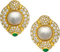 Estate Jewelry:Earrings, Diamond, Mabe Pearl, Emerald, Gold Earrings, Piranesi. ...