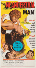 """Movie Posters:Horror, The Neanderthal Man (United Artists, 1953). Folded, Very Fine-. Three Sheet (41"""" X 79""""). Horror.. ..."""