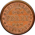 Civil War Merchants, 1863 Token Bellaire Ferry Ticket, Bellaire, OH, Fuld-60A-1a, MS65 Brown NGC. Satin luster yields mainly burgundy-brown and ...