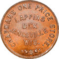 Civil War Merchants, 1861 Token Chapmans One Price Store, Janesville, WI., Fuld-300C-4a, MS66 Brown NGC....