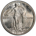 Standing Liberty Quarters, 1917 25C Type Two MS67 Full Head PCGS. Among the finest P-mint Type Two coins known and a rarity as such. This Registry coi...