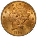 Liberty Double Eagles, 1896 $20 Repunched Date, FS-301, MS63 PCGS. PCGS Population: (167/35). NGC Census: (43/12). MS63. ...